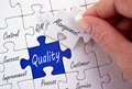 Quality management puzzle jigsaw with a variety of buzzwords or slogans Stock Images
