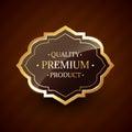 Quality premium product design golden label badge vector Stock Photo