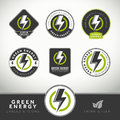 Quality set of green energy labels and badges icons for eco friendly presentations Royalty Free Stock Photos