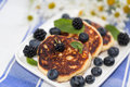 Quark cheese fried cakes with blueberry. Traditional Russian sweet syrniki. Royalty Free Stock Photo