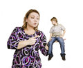 Quarrel in the family mother scolds her so on white background a son Royalty Free Stock Image