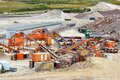 Quarry crusher plant in sand and gravel procuction Royalty Free Stock Images