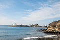 Quarry sand dig industrial on the ocean Royalty Free Stock Photography