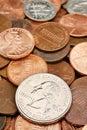 Quarter Dollar coin closeup over coins Stock Images