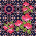 Quarter of the ethnic bandana print with roses in russian style Royalty Free Stock Photo