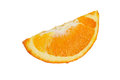 A quarter of an orange on white background Stock Image