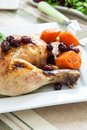 A quarter of roast chicken served with potato carrots and cranberry Royalty Free Stock Photography