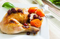 A quarter of roast chicken served with potato carrots and cranberry Stock Images