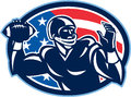 Quarterback qb throwing ball retro illustration of an american football gridiron player facing side set inside oval with usa stars Stock Photos
