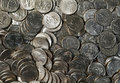 Quarters a tray full of american laid out flat for a money themed background image Stock Photos
