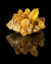 Quartz crystal cluster a of well developed crystals with their reflection from northern nevada Royalty Free Stock Image