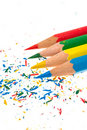 Quatre crayons Photo stock
