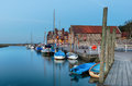 The quay at blakeney in norfolk boats on on north coast of Royalty Free Stock Image