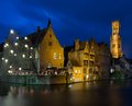 Quay in bruges belgium view of a decorated Stock Images