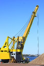Quay crane carries out handling operations in the port Stock Image