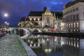 Quay Graslei and St Michael Bridge at night, Ghent Royalty Free Stock Photo