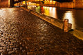 Quay in paris at night wet cobblestone pavement Royalty Free Stock Image