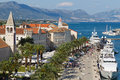 Quay of trogir croatia june tourists visit old town on june in as a unesco world heritage site is one most Royalty Free Stock Photography