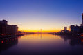 Quay of yekaterinburg russia sunrise Stock Photos