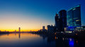 Quay of  Yekaterinburg, sunrise Royalty Free Stock Photo