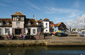 Quayside lymington hampshire october drinkers outside the historic ship inn enjoying the sunshine on the quay at hampshire Royalty Free Stock Photography