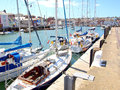 Quayside river wey weymouth yachts moored at the on the at dorset england uk Royalty Free Stock Photos