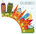 stock image of  Quebec Canada City Skyline with Color Buildings, Blue Sky and Co