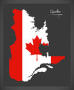 Quebec Canada map with Canadian national flag illustration