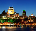 Quebec city at night skyline dusk over river viewed from levis Stock Photography