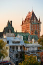 Quebec city skyline with chateau frontenac at sunset viewed from hill Royalty Free Stock Photography