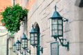 Quebec city street lamp vintage on of Royalty Free Stock Images