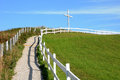 Quebec a white cross in perce canada Stock Image
