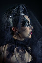 Queen of black swans portrait mysterious beautiful young woman in a veil in profile fashion dark gotic makeup Stock Photos