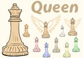 Queen chessman clipart a set with multi colored Stock Photography