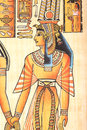 Queen cleopatra ancient egyptian god horus with hand painting on papyrus Stock Images