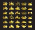 Queen crown, royal gold headdress. King golden accessory. Isolated vector set illustrations. Elite class symbol