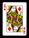 Queen of Diamonds playing card, Royalty Free Stock Photo