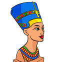 Queen of egypt nefertiti cartoon history sculpture isolated illustration Royalty Free Stock Photo
