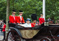 Queen elizabeth ii london june and prince philip seat on the royal coach at s birthday parade also known as trooping the Stock Photo