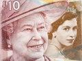 Queen Elizabeth II, portrait from Scottish money Royalty Free Stock Photo