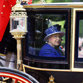 Queen elizabeth ii on the royal coach london uk june seat at s birthday parade s birthday parade take place to Royalty Free Stock Photos