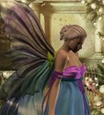 Queen fairy holding a new born fairy d rendered image of in bubble Royalty Free Stock Images