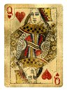 Queen of Hearts Vintage playing card isolated on white Royalty Free Stock Photo