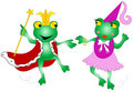 Queen and king frogs Stock Images