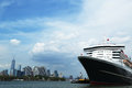 Queen mary cruise ship docked at brooklyn cruise terminal new york city july on july is cunard's flagship ready for Royalty Free Stock Photo