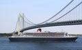 Queen Mary 2 cruise ship in New York Harbor under Verrazano Bridge heading for Canada New England Royalty Free Stock Photo