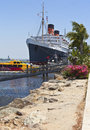 The queen mary long beach california ship moored in Royalty Free Stock Images