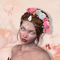 Queen of roses beautiful woman portrait with crown and butterflies Stock Photography