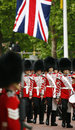Queen s bands at queen s birthday parade london uk june union jack flag in the background take place to Stock Image