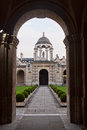 The queen s college oxford inside main quadrangle seen through arch university uk Stock Images